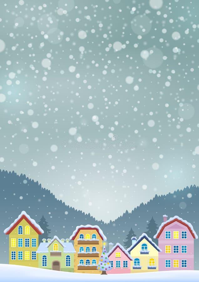 Tema del invierno con la imagen 3 de la ciudad de la Navidad ilustración del vector