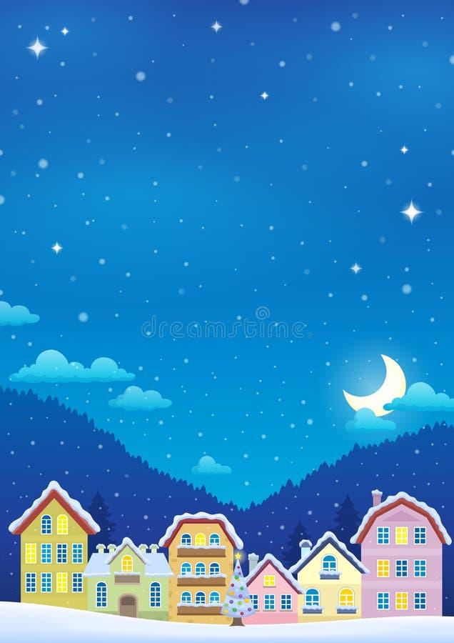 Tema del invierno con la imagen 2 de la ciudad de la Navidad stock de ilustración