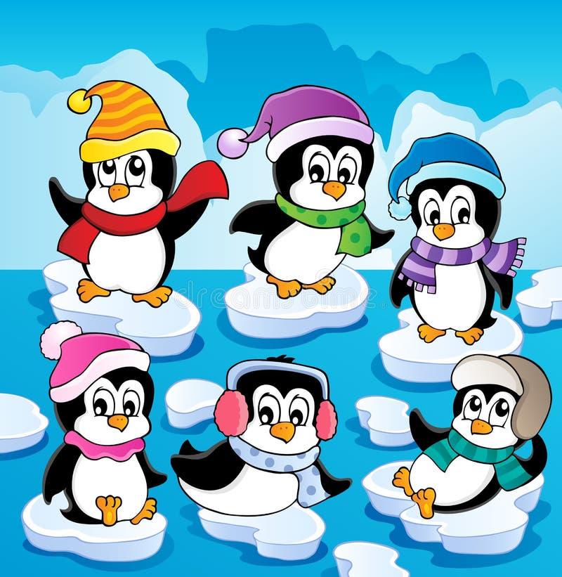 Tema del invierno con los pingüinos   ilustración del vector