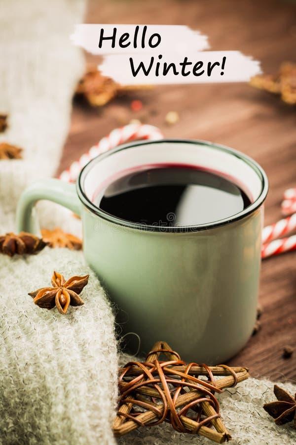 Tema del invierno Taza de cocido al vapor al vapor caliente de vino del destello con las especias, el canela, el anís, los carame fotos de archivo libres de regalías