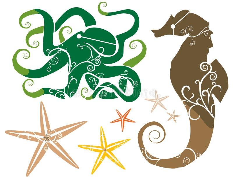 Tema del mare: COLORE delle stelle marine del polipo del Seahorse immagine stock