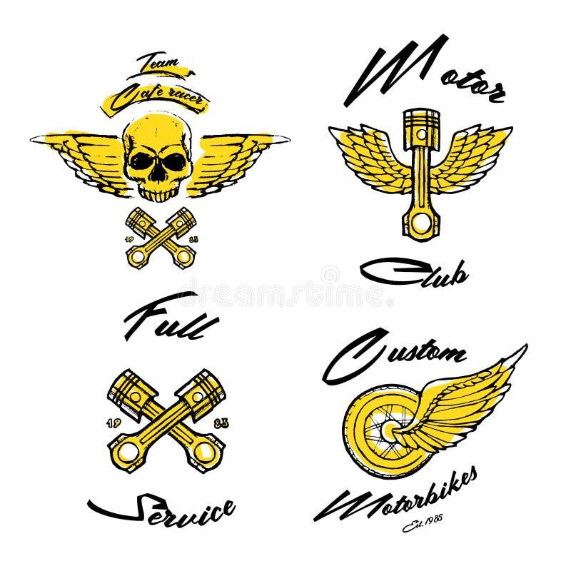 Tema del motociclista di Moto, insieme dell'icona Corridore del caffè dorato illustrazione vettoriale