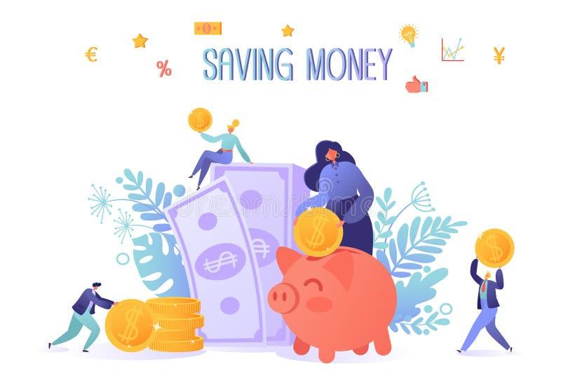 Tema del negocio y de las finanzas Concepto de dinero del ahorro ilustración del vector