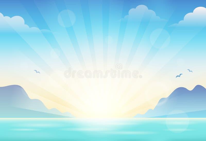 Tema 1 del paisaje marino de la puesta del sol stock de ilustración