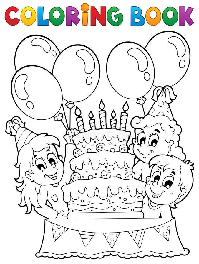 Tema 2 del partito dei bambini del libro da colorare royalty illustrazione gratis