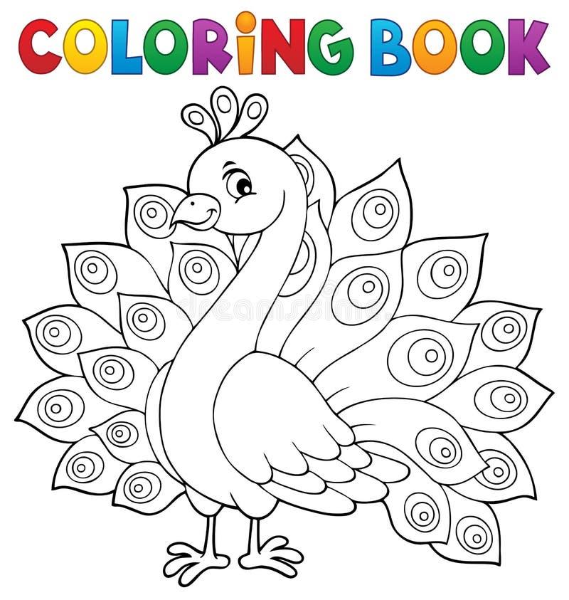 Tema 1 del pavo real del libro de colorear stock de ilustración