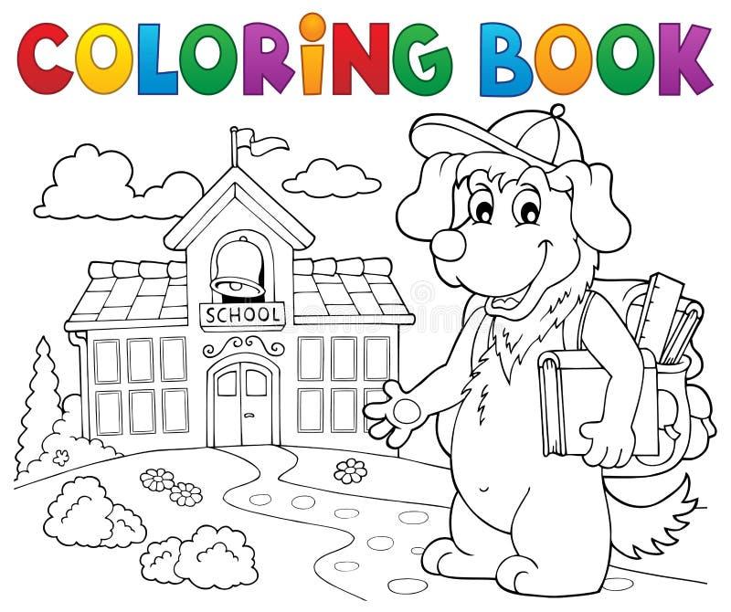 Tema 2 del perro de la escuela del libro de colorear stock de ilustración