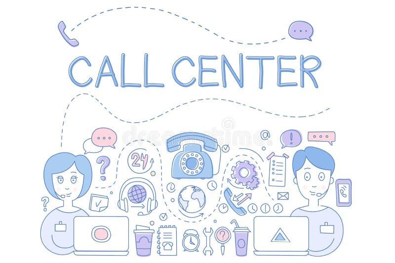 Tema del servicio de atención al cliente del centro de atención telefónica stock de ilustración