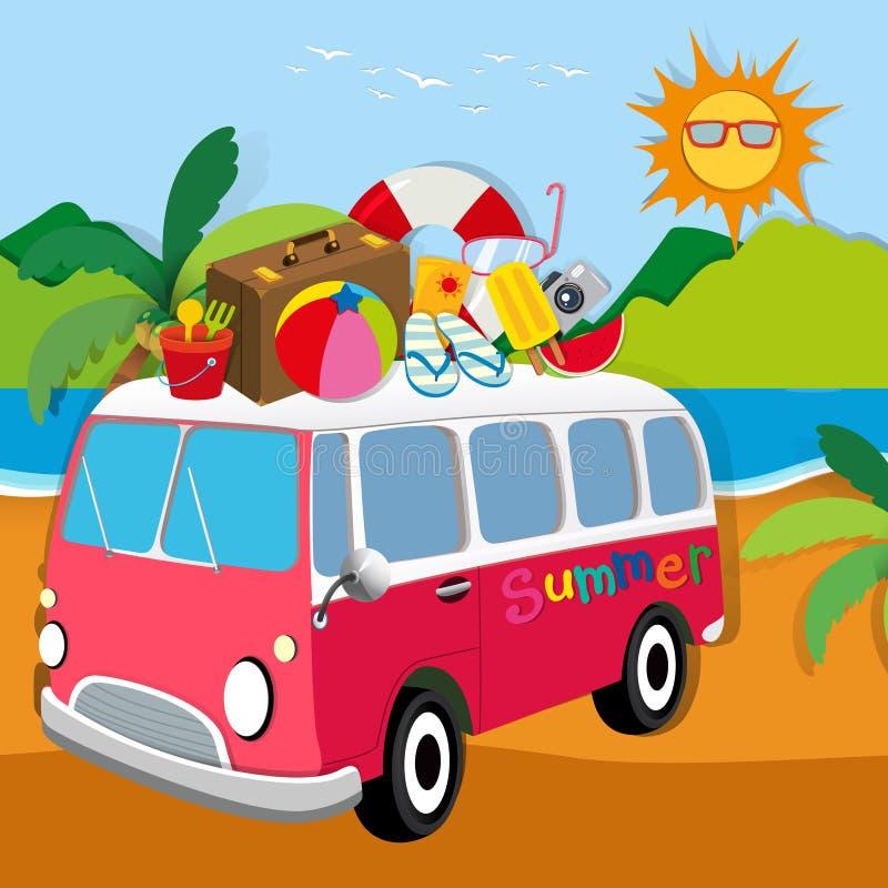 Tema del verano con equipajes en la furgoneta stock de ilustración