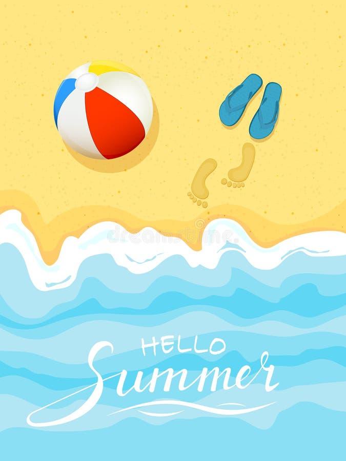 Tema del verano con la pelota de playa y las chancletas stock de ilustración