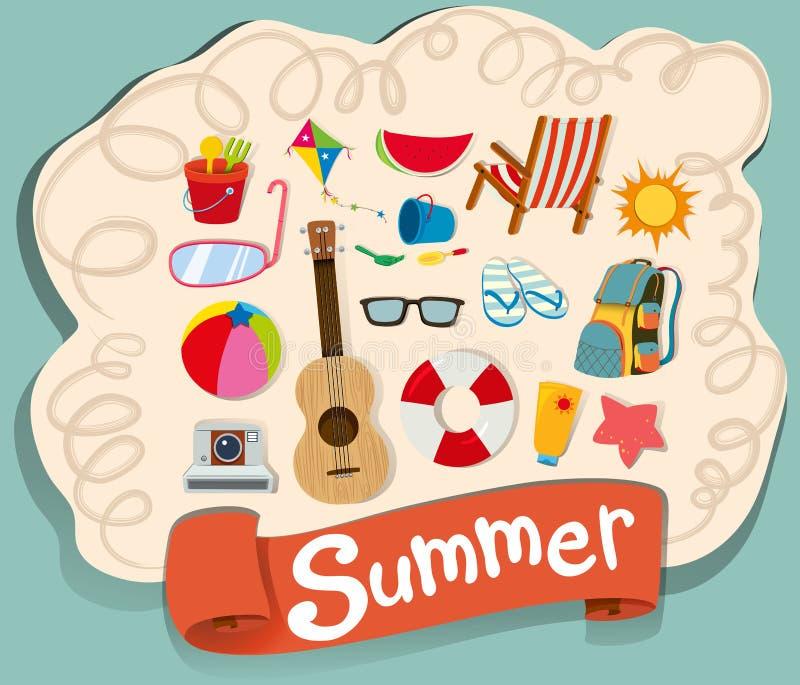 Tema del verano con los objetos de la playa stock de ilustración