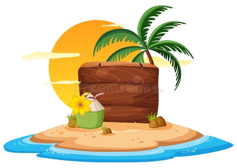 Tema del verano del tablero de madera libre illustration