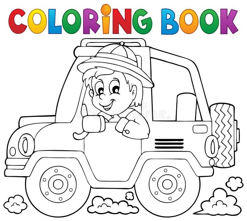 Tema 1 del viajero del coche de libro de colorear stock de ilustración