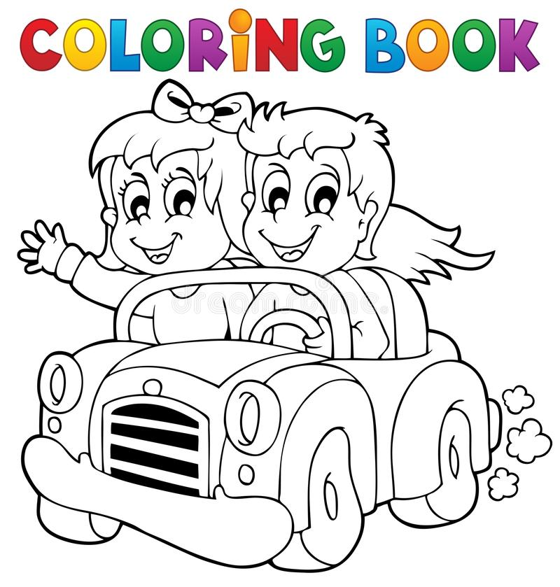 Tema 1 dell'automobile di libro da colorare illustrazione di stock