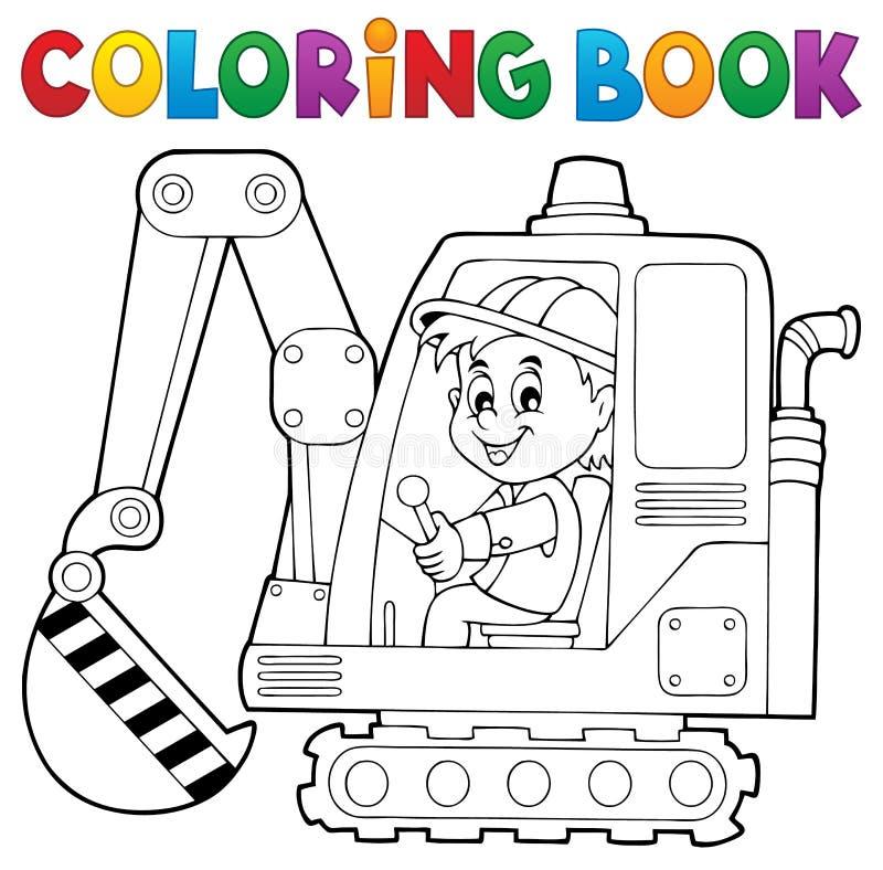 Tema 1 dell'operatore dell'escavatore del libro da colorare illustrazione di stock