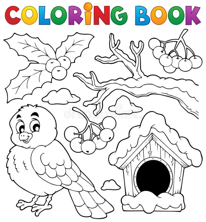 Tema 1 dell'uccello di inverno del libro da colorare illustrazione vettoriale
