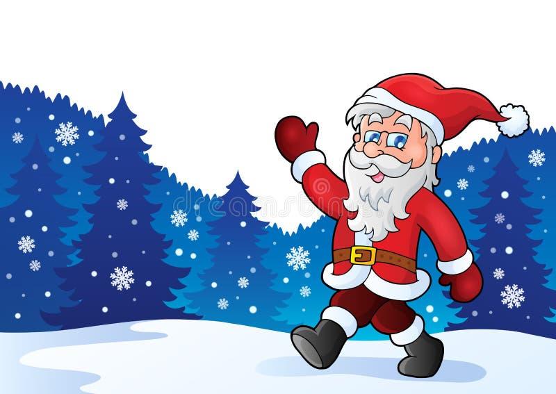 Tema 4 della passeggiata di Santa Claus illustrazione di stock