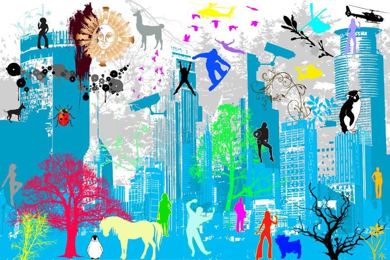 Tema della via e della città illustrazione vettoriale