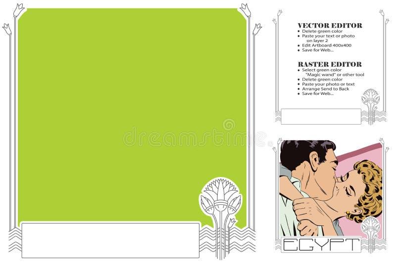 Tema di corsa Egypt Pagina per l'album per ritagli, insegna, autoadesivo, socia illustrazione vettoriale