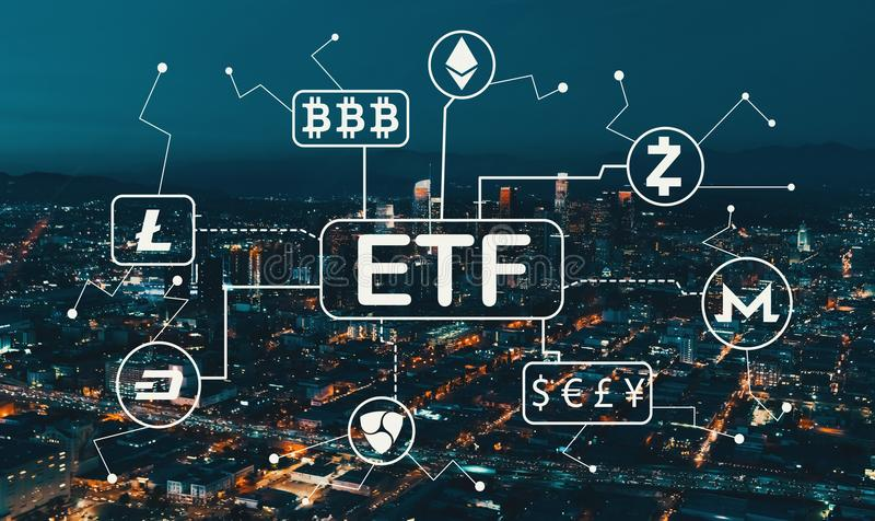 Tema di Cryptocurrency ETF con Los Angeles del centro royalty illustrazione gratis