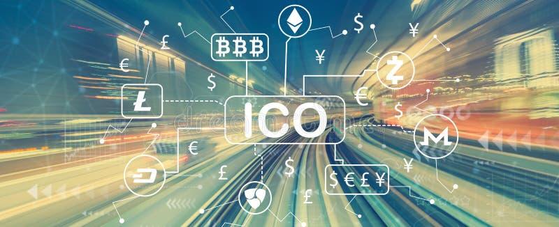 Tema di Cryptocurrency ICO con mosso ad alta velocità royalty illustrazione gratis