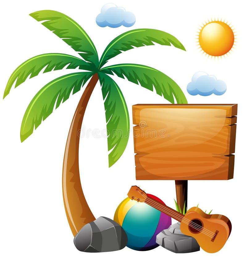 Tema di estate con il segno di legno dall'albero illustrazione vettoriale
