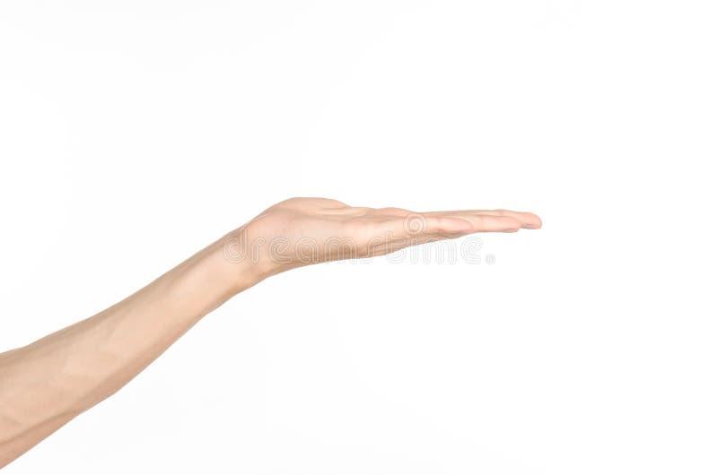 Tema di gesti di mano: la mano umana mostra i gesti isolata su fondo bianco in studio fotografie stock