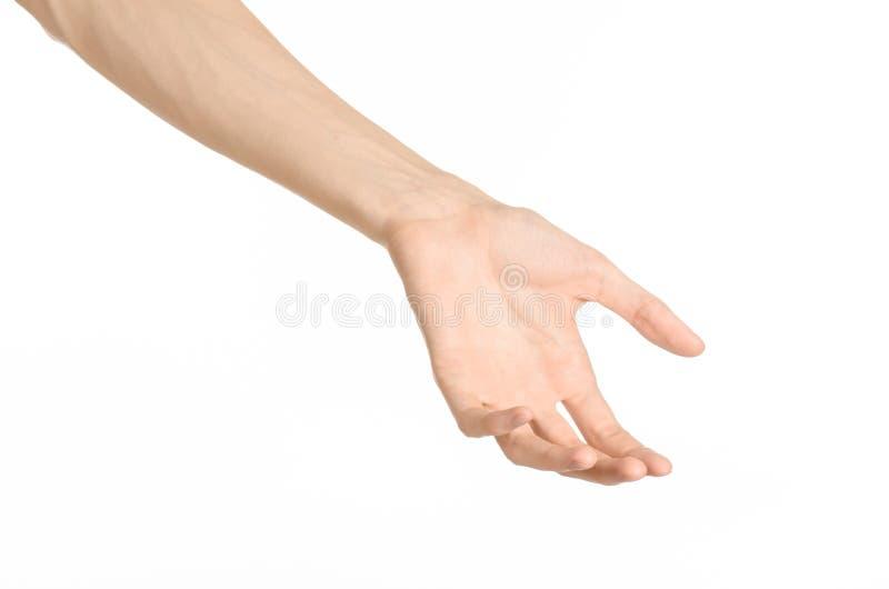 Tema di gesti di mano: la mano umana mostra i gesti isolata su fondo bianco in studio fotografia stock libera da diritti