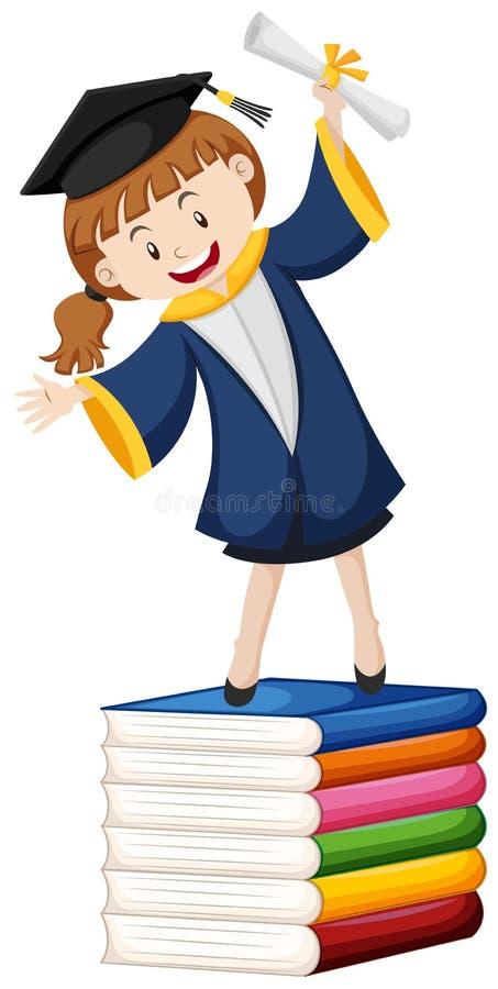 Tema di graduazione con la ragazza ed i libri illustrazione vettoriale