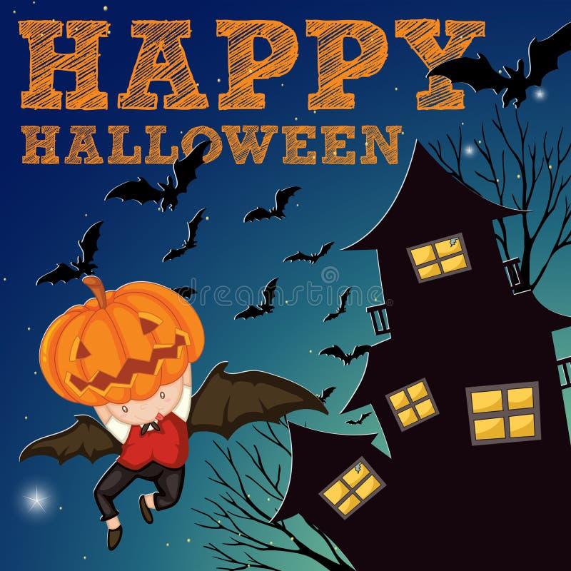 Tema di Halloween con la casa frequentata illustrazione vettoriale
