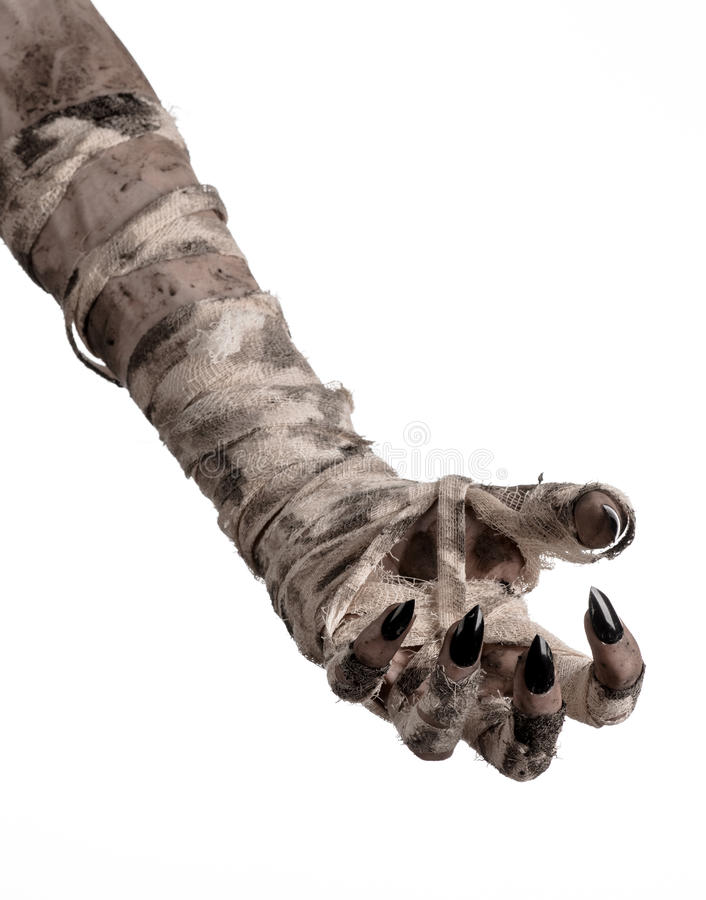 Tema di Halloween: vecchie mani terribili della mummia su un fondo bianco fotografie stock libere da diritti