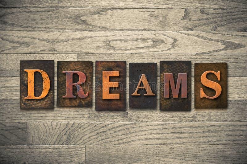 Tema di legno dello scritto tipografico di sogni immagini stock libere da diritti