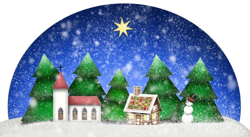 Tema di Natale con il pupazzo di neve della casa di pan di zenzero della chiesa e l'albero di abete in un paesaggio nevoso illustrazione vettoriale