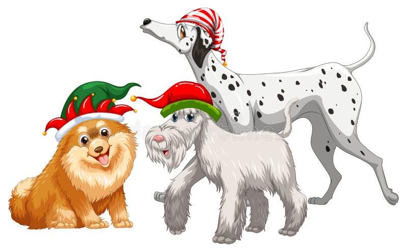 Tema di Natale con tre cani in cappello del partito illustrazione di stock