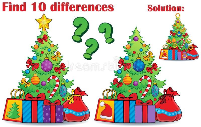 Tema di Natale di differenze del ritrovamento illustrazione vettoriale
