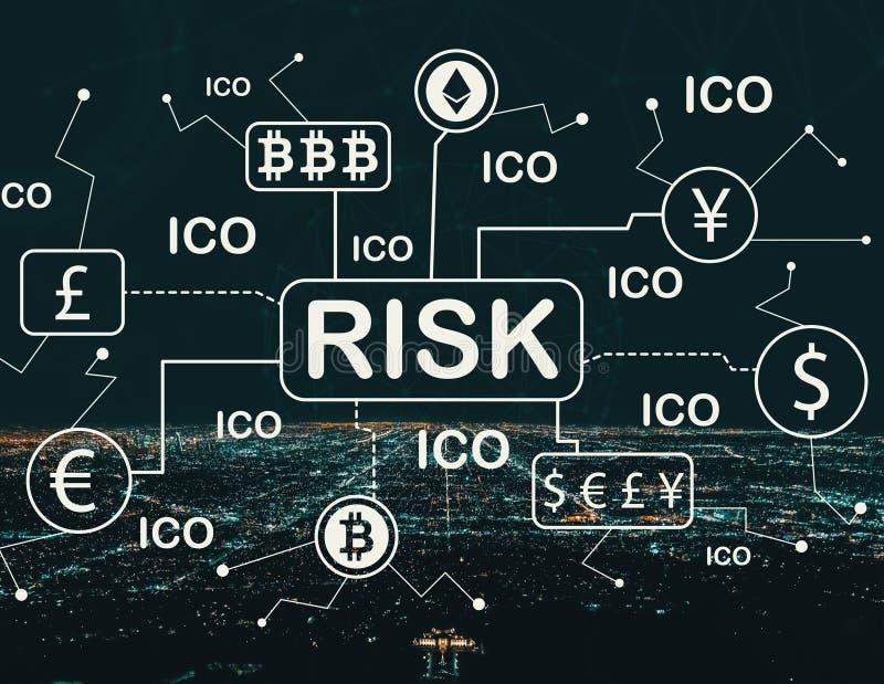 Tema di rischio di Cryptocurrency ICO con Los Angeles del centro illustrazione vettoriale