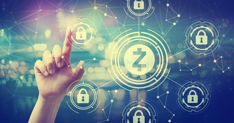 Tema di sicurezza di cryptocurrency di Zcash con lo stampaggio a mano un bottone fotografia stock libera da diritti