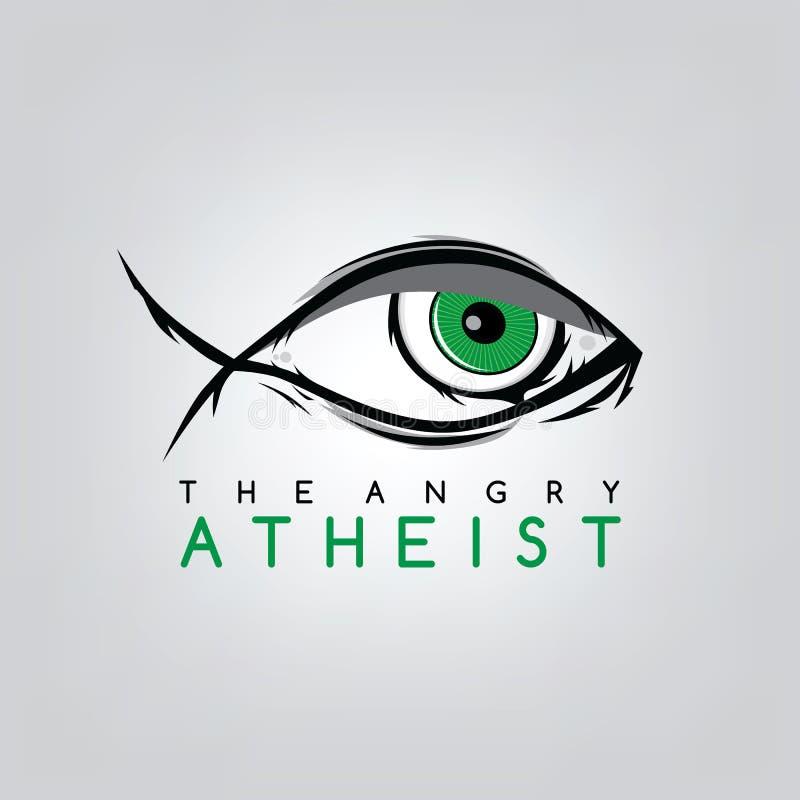 tema do ateísmo - contra a campanha religiosa da ignorância ilustração stock