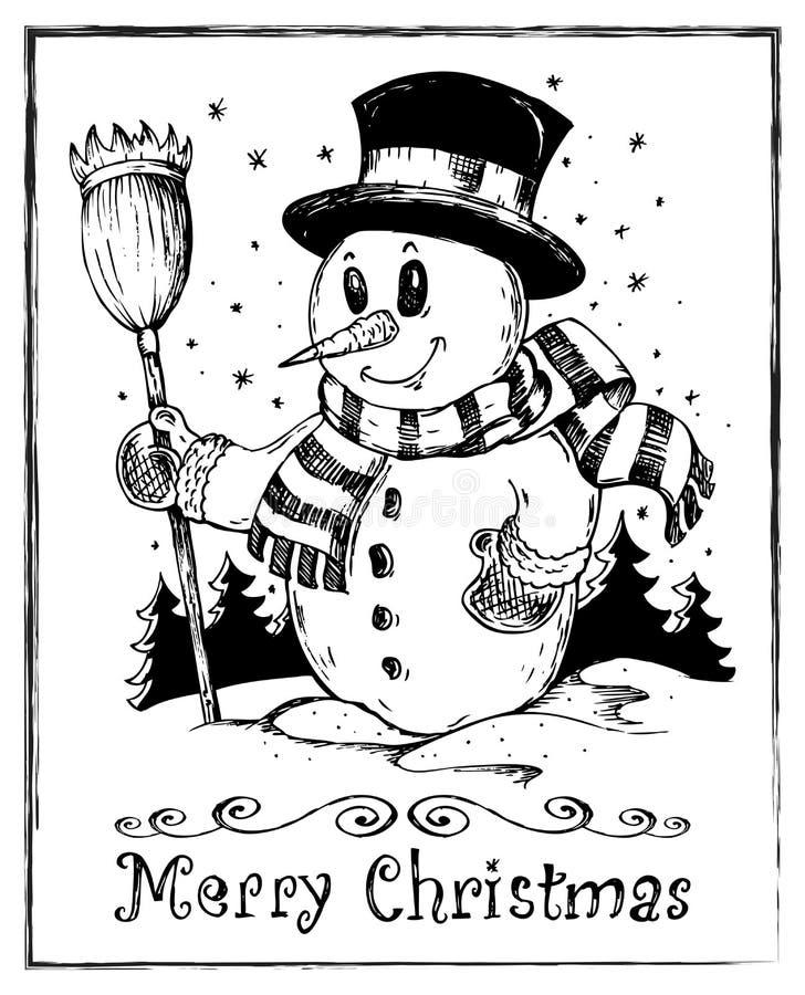 Tema do boneco de neve do inverno que desenha 2 ilustração stock