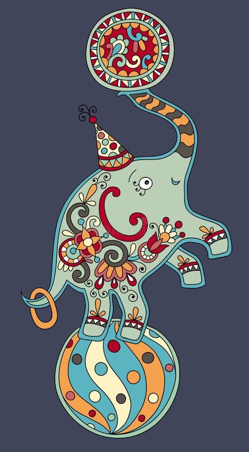 Tema do circo - elefante que equilibra em uma bola sobre ilustração stock