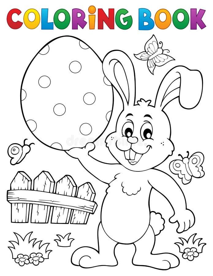 Tema 9 do coelho da Páscoa do livro para colorir