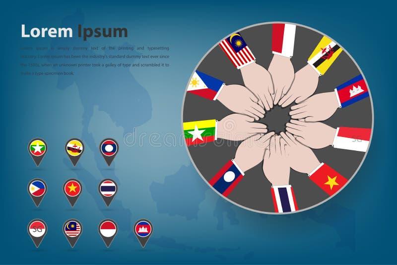 Tema do corpotation da comunidade econômica do Asean (CEA) no estilo ilustração royalty free