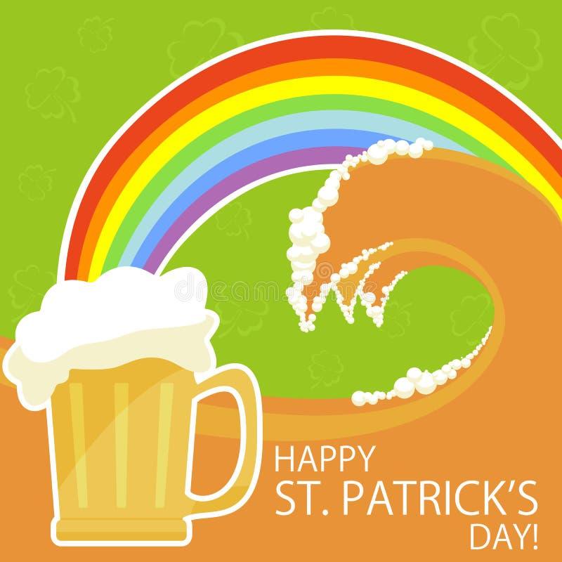 Tema do dia de Patricks com cerveja e arco-íris ilustração royalty free