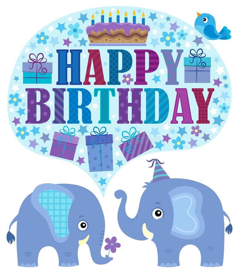 Tema do feliz aniversario com elefantes 2 ilustração do vetor