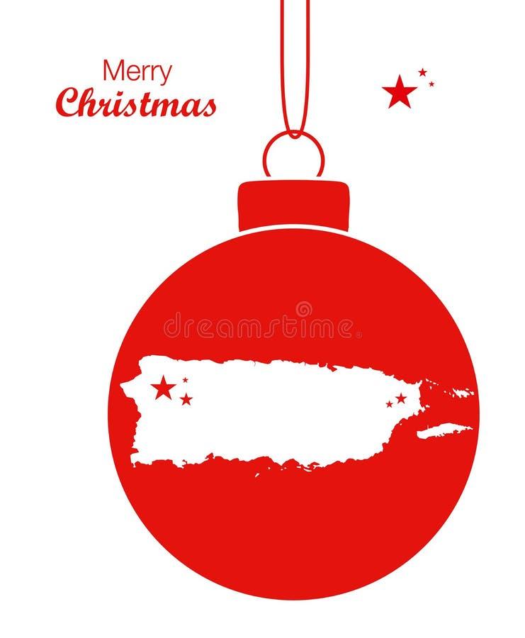 Tema do Feliz Natal com o mapa de Porto Rico ilustração stock