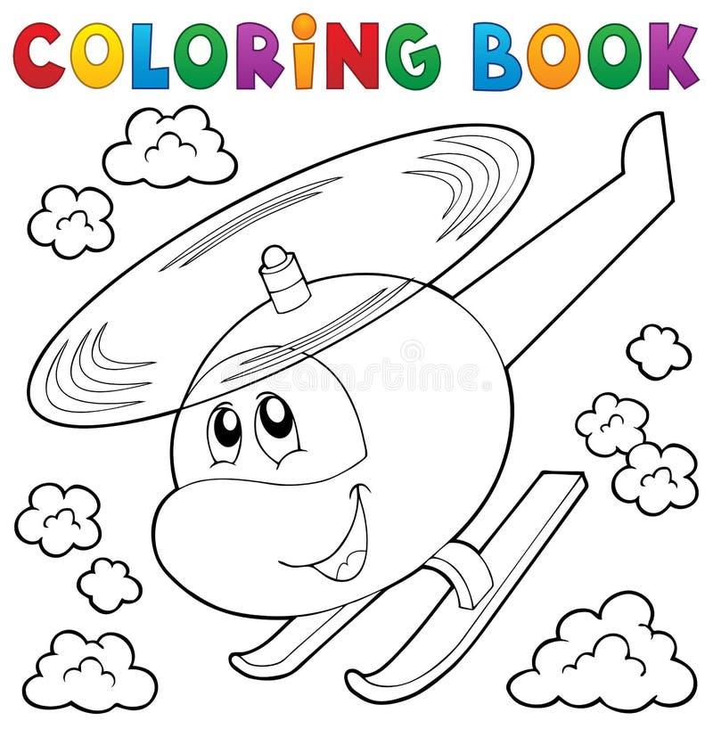 Tema 1 do helicóptero do livro para colorir ilustração do vetor