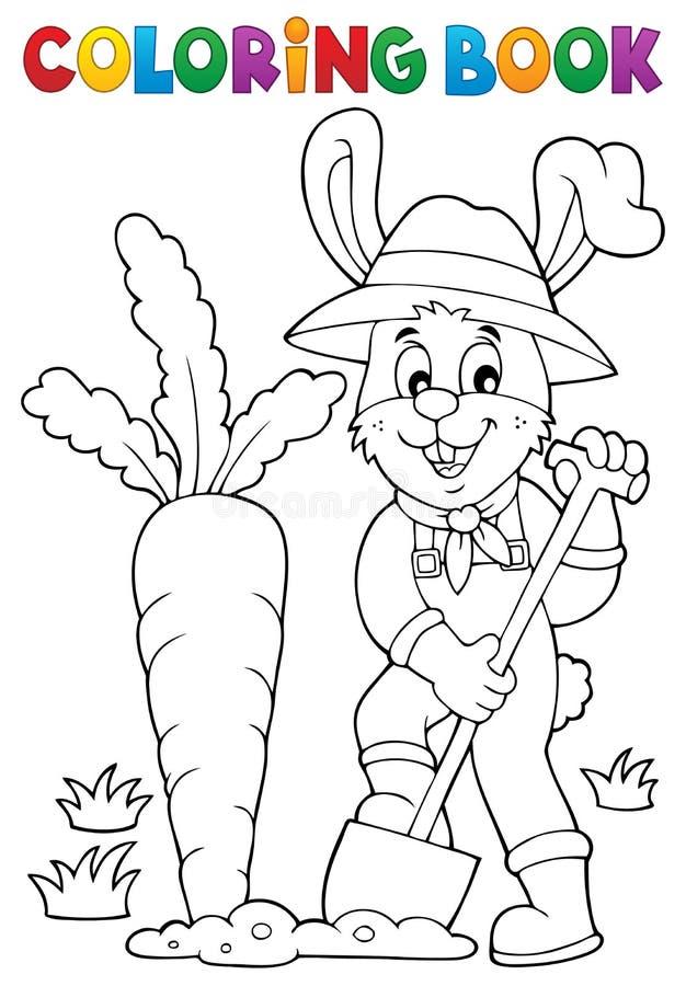 Tema 1 do jardineiro do coelho do livro para colorir