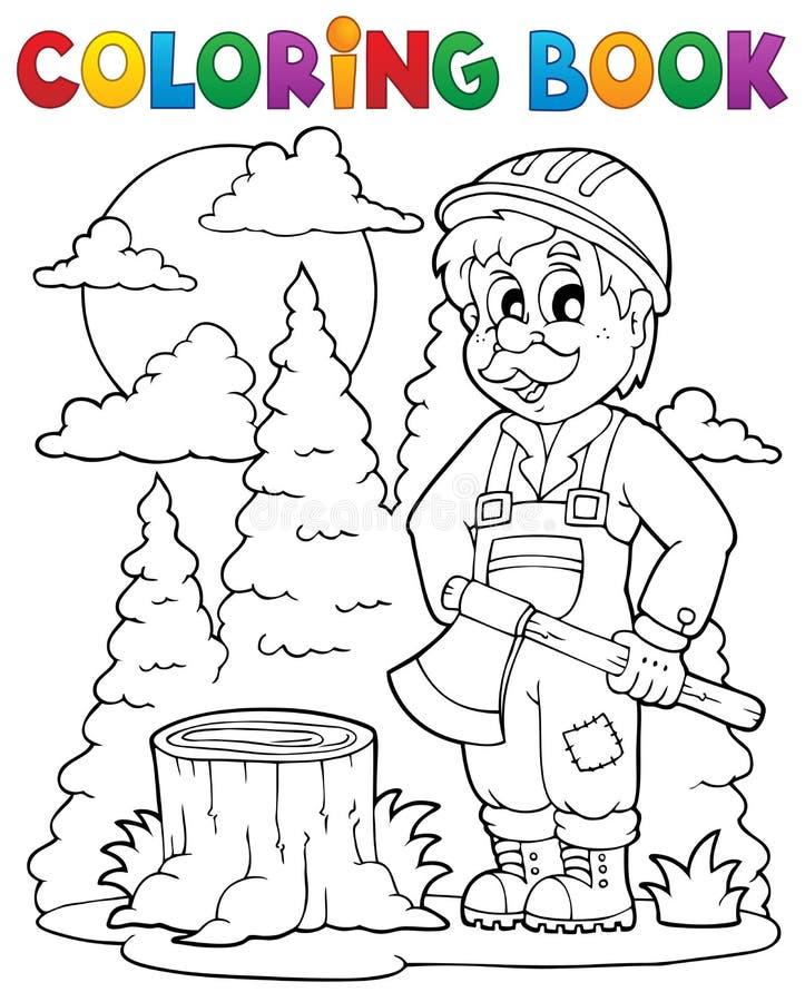Tema 1 do lenhador do livro para colorir ilustração royalty free