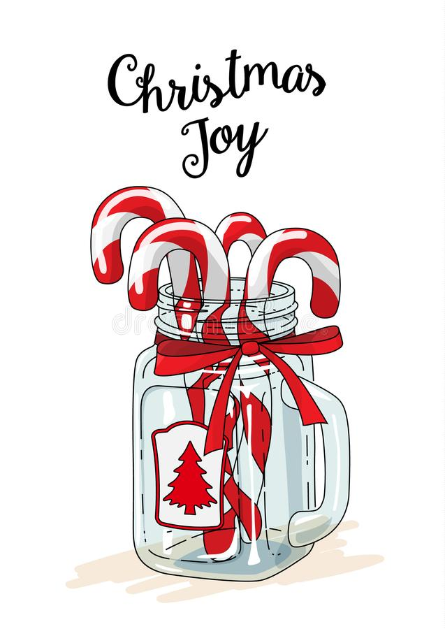 Tema do Natal, bastões de doces no frasco de vidro com fita vermelha e alegria do Natal do texto, ilustração ilustração do vetor