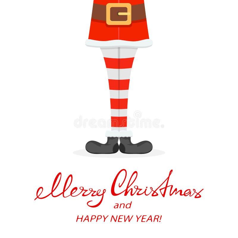 Tema do Natal com pés de Santa ilustração stock